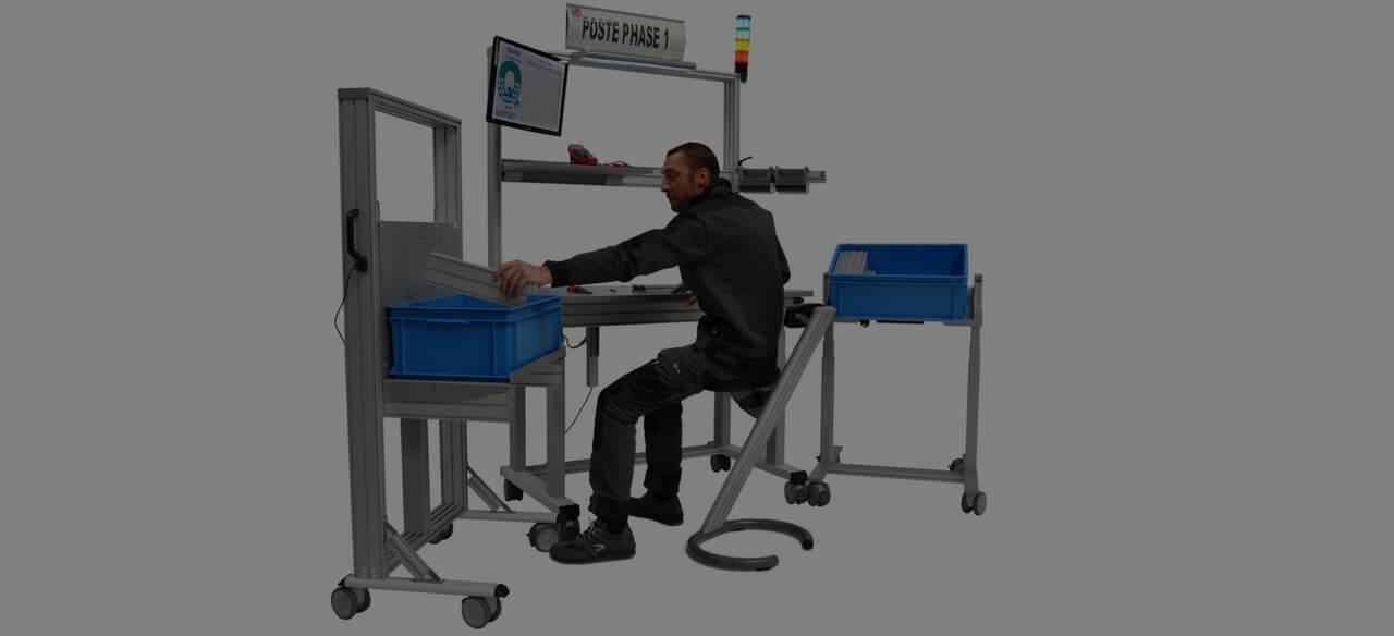 industrielle Arbeitsplatzhaltung einnehmen